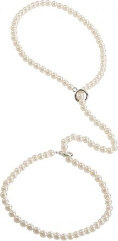 Наручники из полиэстера с жемчугом playful in pearls-pearl cuf белые, фото 3
