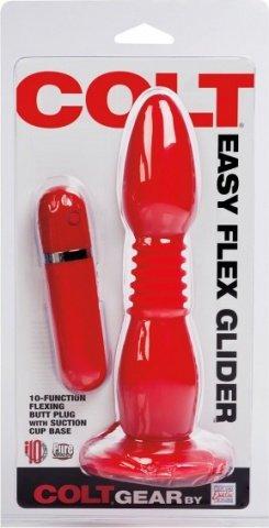 Анальная пробка с хребтом colt easy flex glider на присоске с вибрацией красная, фото 2