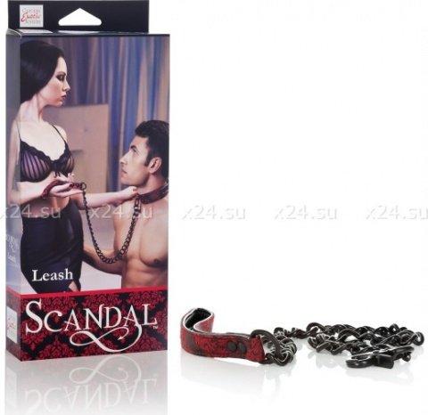 Поводок с цепью Scandal Leash атласный черно-красный