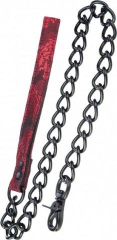 Поводок с цепью Scandal Leash атласный черно-красный, фото 4
