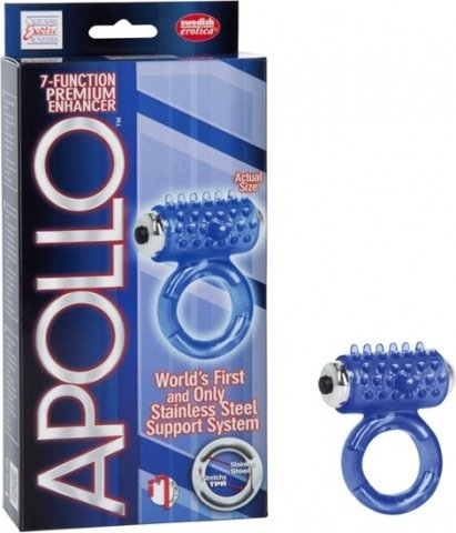 Виброкольцо apollo 7-function premium enhancers blue 1387-20bxse, фото 3