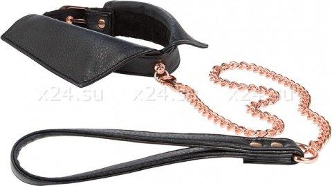 Ошейник-воротничок Entice Chelsea Collar with Leash с поводком-цепью черный