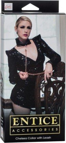 Ошейник-воротничок Entice Chelsea Collar with Leash с поводком-цепью черный, фото 2