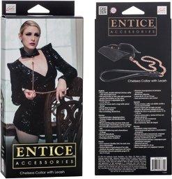 Ошейник-воротничок Entice Chelsea Collar with Leash с поводком-цепью черный, фото 4