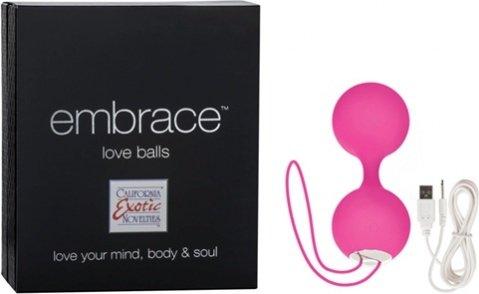 Вагинальные вибро-шарики перезаряжаемые Embrace Love Balls силиконовые розовые, фото 2
