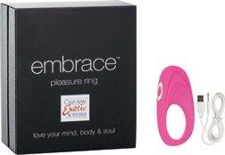 Перезаряжаемое эрекционное кольцо с вибро-стимулятором Embrace Pleasure Ring розовое, фото 4