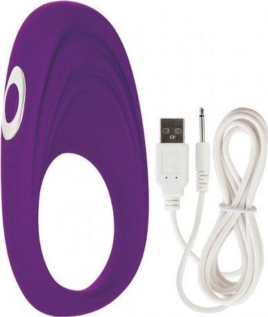 Перезаряжаемое эрекционное кольцо с вибро-стимулятором Embrace Pleasure Ring фиолетовое 9 см, фото 2