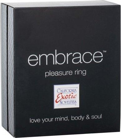 Перезаряжаемое эрекционное кольцо с вибро-стимулятором Embrace Pleasure Ring фиолетовое 9 см, фото 3