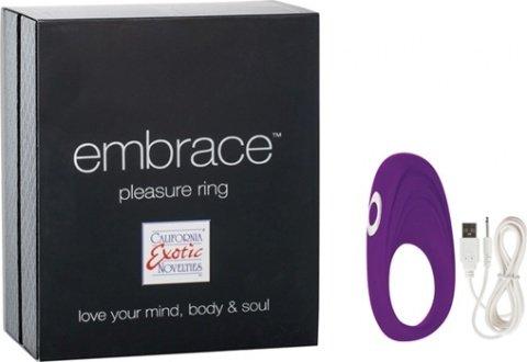Перезаряжаемое эрекционное кольцо с вибро-стимулятором Embrace Pleasure Ring фиолетовое 9 см, фото 4