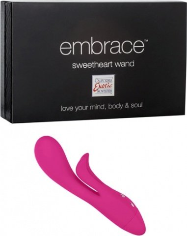 Вибромассажер с клиторальным стимулятором Embrace Sweetheart Wand розовый, фото 5