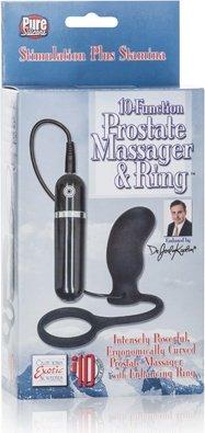 Вибромассажер простаты Dr. Joel Kaplan 10-Function Prostate Massager &amp Ring с эрекционным кольцом че, фото 4