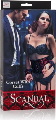 Корсет с наручниками Scandal Corset with Cuffs красный с черным, фото 2