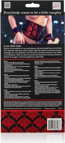 Корсет с наручниками Scandal Corset with Cuffs красный с черным, фото 5