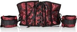 Корсет с наручниками Scandal Corset with Cuffs красный с черным, фото 6