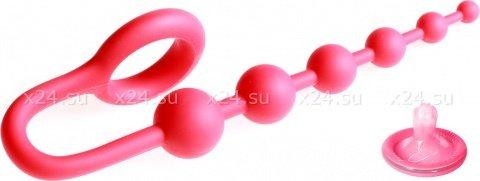 Анальная цепочка colt buddy balls с эрекционным кольцом красная, фото 3