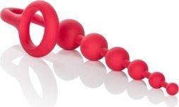Анальная цепочка colt buddy balls с эрекционным кольцом красная, фото 4