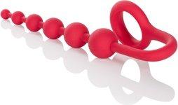 Анальная цепочка colt buddy balls с эрекционным кольцом красная, фото 5