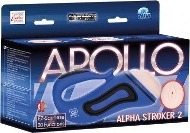 Мастурбатор-вагина Alpha Alpha 2 с вибрацией голубой, фото 2