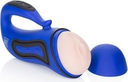 Мастурбатор-вагина Alpha Alpha 2 с вибрацией голубой, фото 3