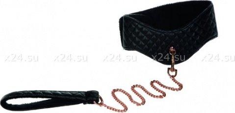 Ошейник с поводком съемный игровой Entice Posture Collar with Leash черный из пвх