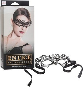 Маска черная из никеля с имитацией кристаллов Entice Mystique Mask - Black, фото 4