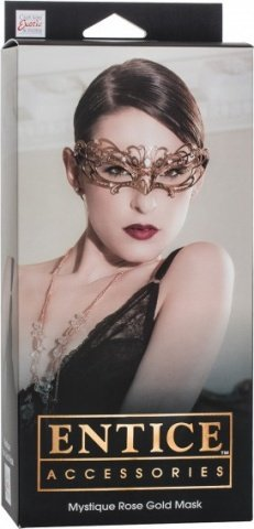 Маска золотистая из никеля с имитацией кристаллов Entice Mystique Mask - Rose Gold, фото 2