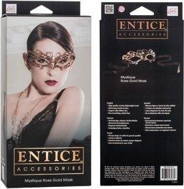 Маска золотистая из никеля с имитацией кристаллов Entice Mystique Mask - Rose Gold, фото 4