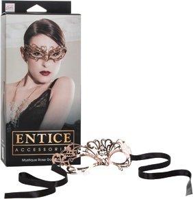 Маска золотистая из никеля с имитацией кристаллов Entice Mystique Mask - Rose Gold, фото 5