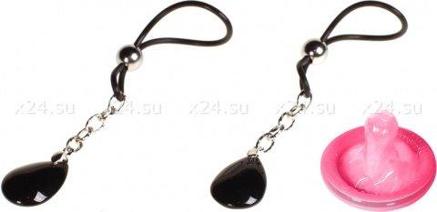 Подвески для сосков с черным кристаллом Onyx, фото 2
