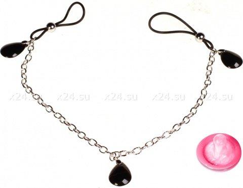 Подвески для сосков с тремя черными камнями Onyx, фото 2
