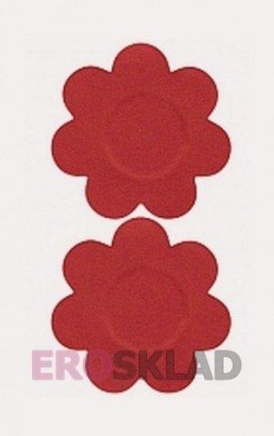 Наклейки на грудь - стикини в форме цветочков. Многоразовые, цвет Красный