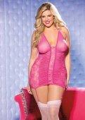 Сорочка (розовый) кружевная с гофрированными вставками + повязки + стринги + чулки - Секс-шоп Мир Оргазма