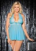 Р, Комбинация голубая + трусы | Белье больших размеров | Интернет секс шоп Мир Оргазма