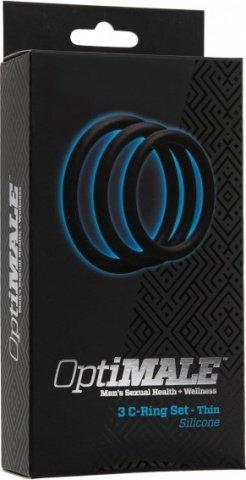 Набор узких эрекционных колец optimale 3 c-ring set thick черный, фото 2