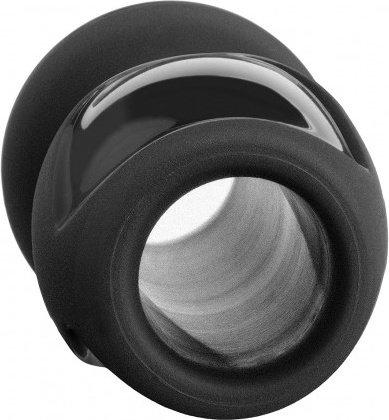 Анальная пробка с отверстием большая Platinum The Stretch Medium черная, фото 2