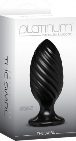 Анальная пробка Platinum Premium Silicone The Swirl черная, фото 2