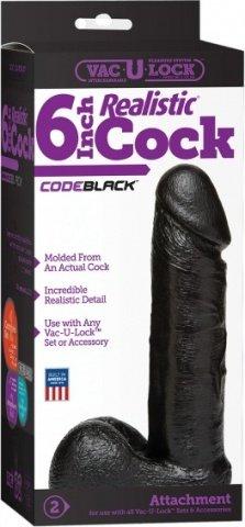 Насадка фаллоимитатор черная 6 Vac-U-Lock CodeBlack, фото 2