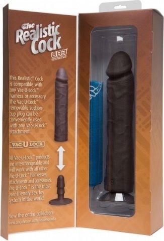 Фаллоимитатор реалистик без мошонки на присоске 10 черный съемный Vac-U-Lock, фото 3