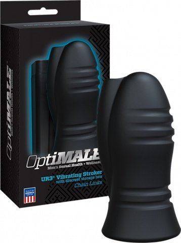 Мастурбатор с вибрацией optimale vibrating stroker - chain links - black, фото 3