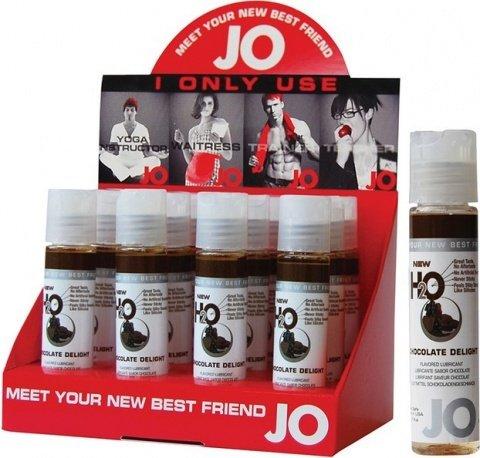 Съедобный любрикант ''Шоколадный восторг'' (шоу-бокс: 12 шт. по 30 мл). JO H2O Lubricant