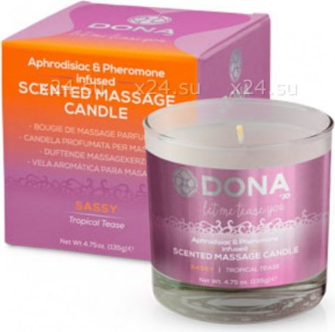 Массажная свеча dona scented massage candle sassy aroma: tropical tease 135 г, фото 2