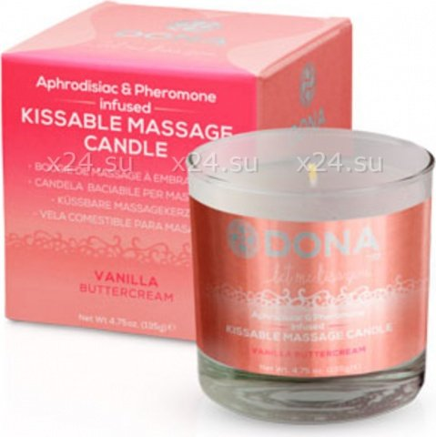 Массажная свеча для оральных ласк Dona Kissable Massage Candle Vanila Buttercream, фото 2