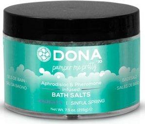 Соль для ванны меняющая цвет воды dona bath salt naughty aroma: sinful spring 215 г