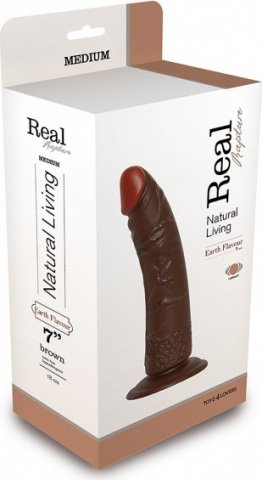 Вибратор realistico real rapture brown 7'' t4l-903019 23 см, фото 2