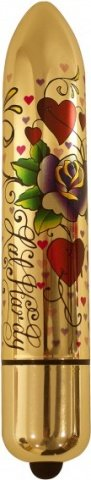 Вибратор Hearts N' Roses, 10 скоростей, металл, золотой, 40 х160 мм