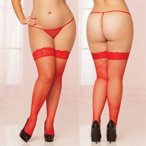 Красные чулки большого размера в сетку с кружевной резинкой