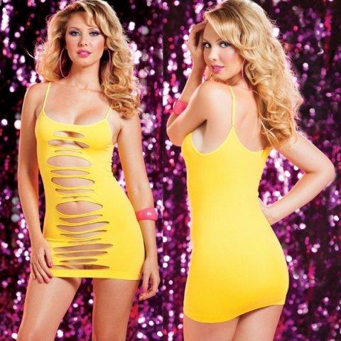 Желтое двустороннее платье с горизонтальными вырезами