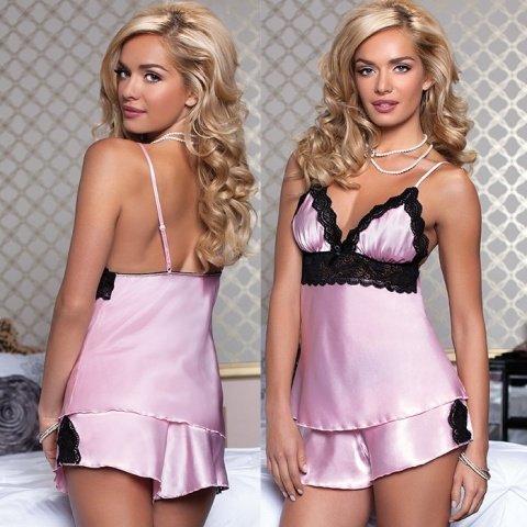 Очаровательные сорочка и шортики нежно-розовые XL