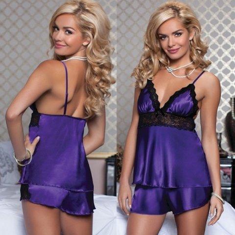 Очаровательные сорочка и шортики фиолетовые L