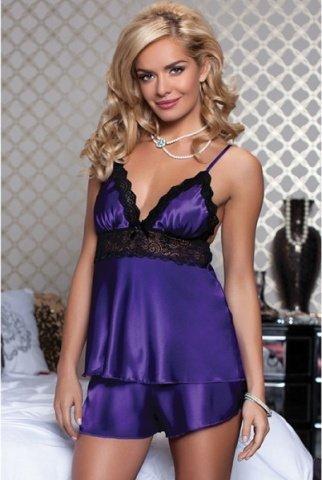 Очаровательные сорочка и шортики фиолетовые L, фото 2